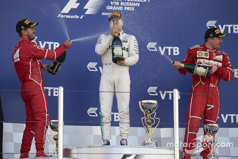 Race winner Second place Valtteri Bottas, Mercedes AMG F1 Sebastian Vettel, Ferrari, Third place Kimi Raikkonen, Ferrari