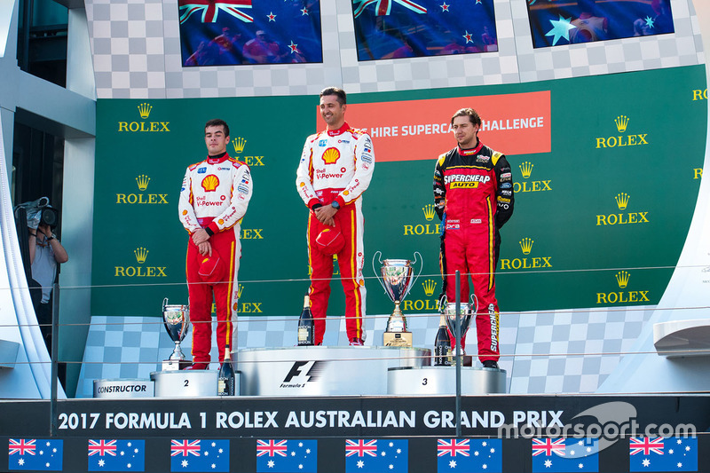 Scott McLaughlin, Team Penske, Ford; Fabian Coulthard, Team Penske, Ford; Chaz Mostert, Rod Nash Racing, Ford