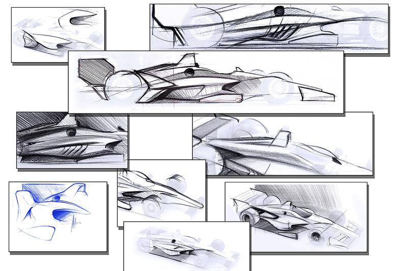2018 IndyCar dibujos de concepto aerokit