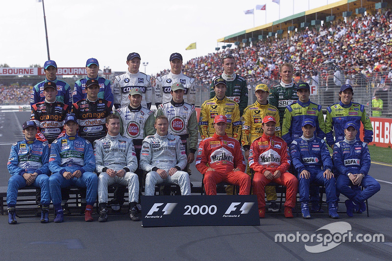 The formula one drivers get together for the annual start of year drivers group shot: (back row L-R) Pedro Diniz, Mika Salo, Jenson Button, Ralph Schumacher, Eddie Irvine and Johnny Herbert. (middle row L-R) Jos Verstappen, Pedro de la Rosa, Jacques Villeneuve, Ricardo Zonta, Heinz-Harald Frentzen, Jarno Trulli, Marc Gené and Gastón Mazzacane. (front row L-R) Giancarlo Fisichella, Alexander Wurz, David Coulthard, Mika Häkkinen, Michael Schumacher, Rubens Barrichello, Jean Alesi and Nick Heidfeld