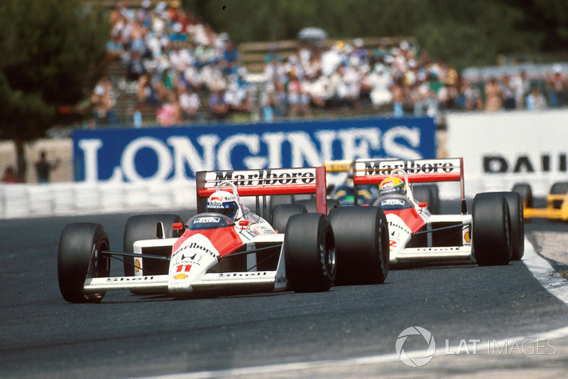 Alain Prost, McLaren MP4/4,  leads his teammate Ayrton Senna, McLaren MP4/4