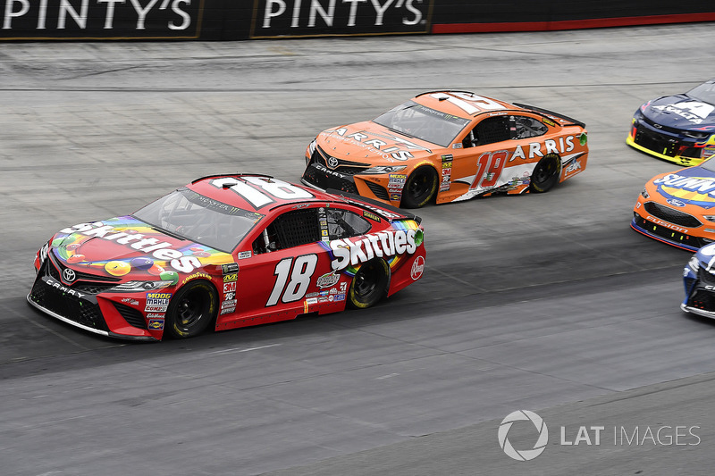 Kyle Busch, Joe Gibbs Racing, Toyota Camry Skittles and Daniel Suarez, Joe Gibbs Racing, Toyota Camry ARRIS