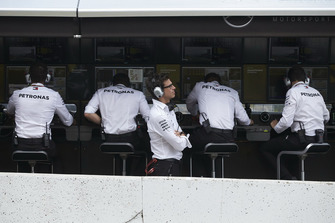 Toto Wolff, Mercedes AMG F1 Director of Motorsport, on the pit wall