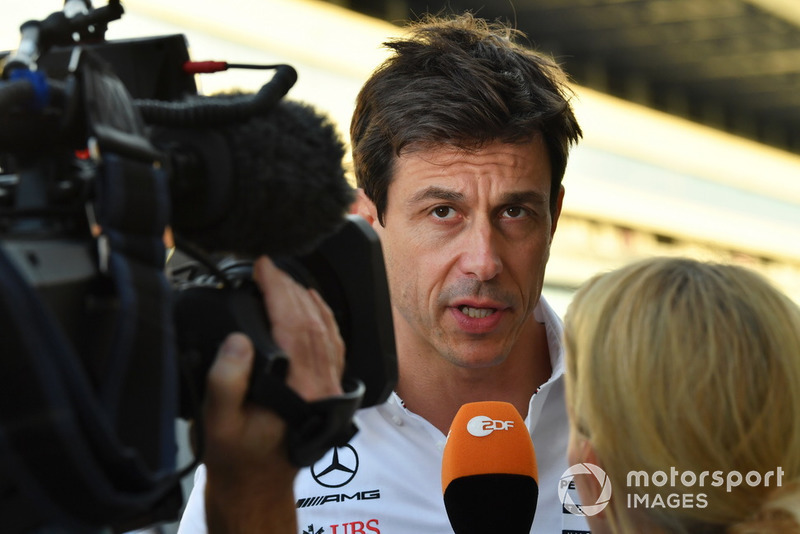 Toto Wolff, Mercedes AMG F1 Director of Motorsport talks with the media