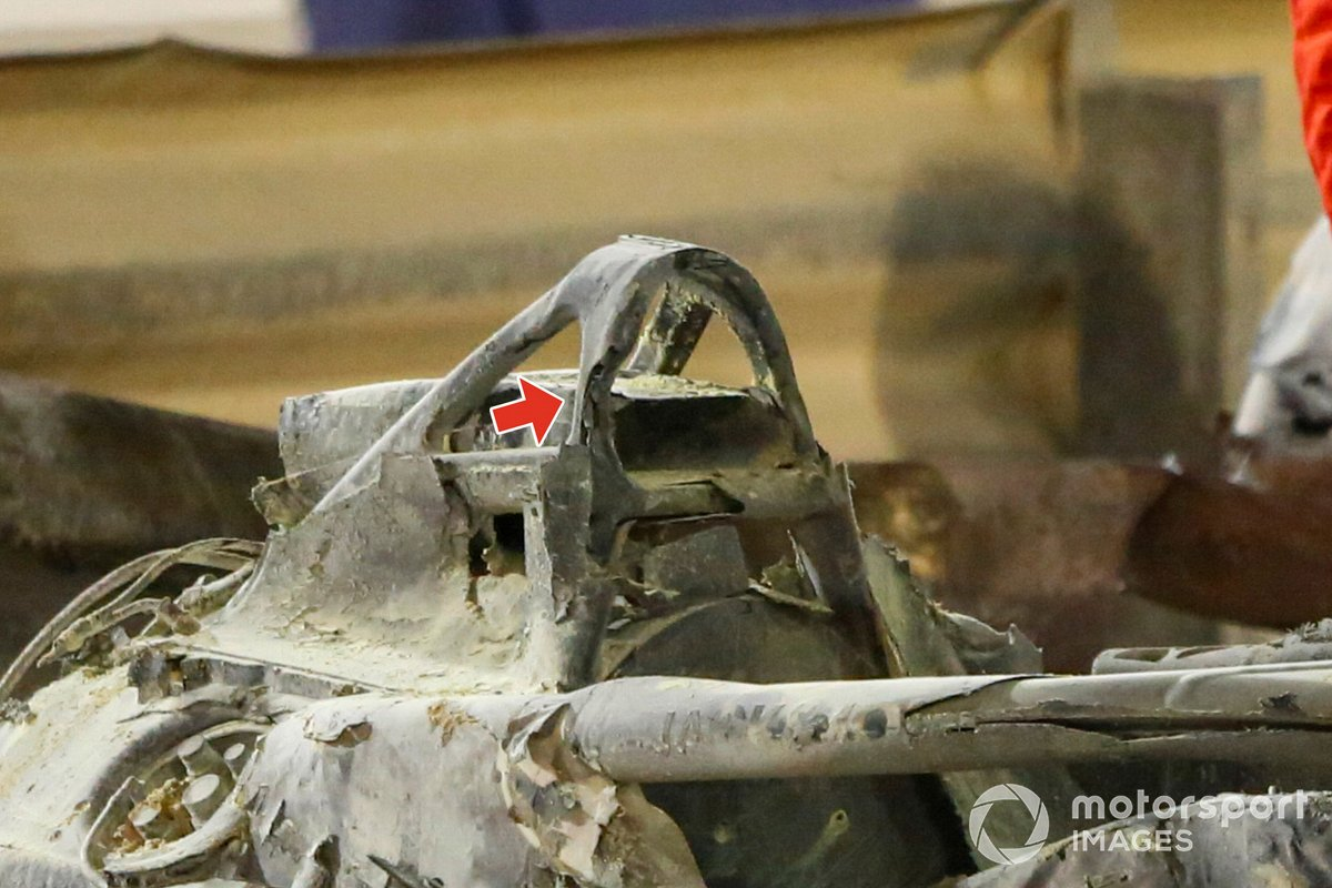 The remains of the car of Romain Grosjean, Haas VF-20