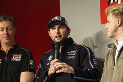 Matt Neal, Andrew Jordan and Ashley Sutton on the Autosport Stage