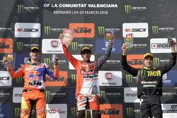 Podio: Jeffrey Herlings, Red Bull KTM Factory, Antonio Cairoli, Red Bull KTM Factory y Clement Desalle, Monster Kawasaki