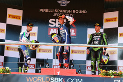 Podium: Jules Cluzel, CIA Landlord Insurance Honda, Federico Caricasulo, GRT Yamaha Official WorldSSP Team, Anthony West, EAB West Racing