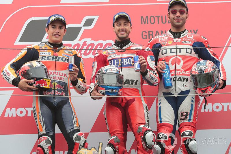 Podium: ganador, Andrea Dovizioso, Ducati Team, segundo, Marc Marquez, Repsol Honda Team, tercero, Danilo Petrucci, Pramac Racing