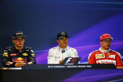 The post qualifying FIA Press Conference (L to R): second place Max Verstappen, Red Bull Racing; Pol