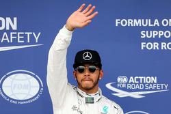 Polesitter Lewis Hamilton, Mercedes AMG F1 Team celebrates his pole position in parc ferme