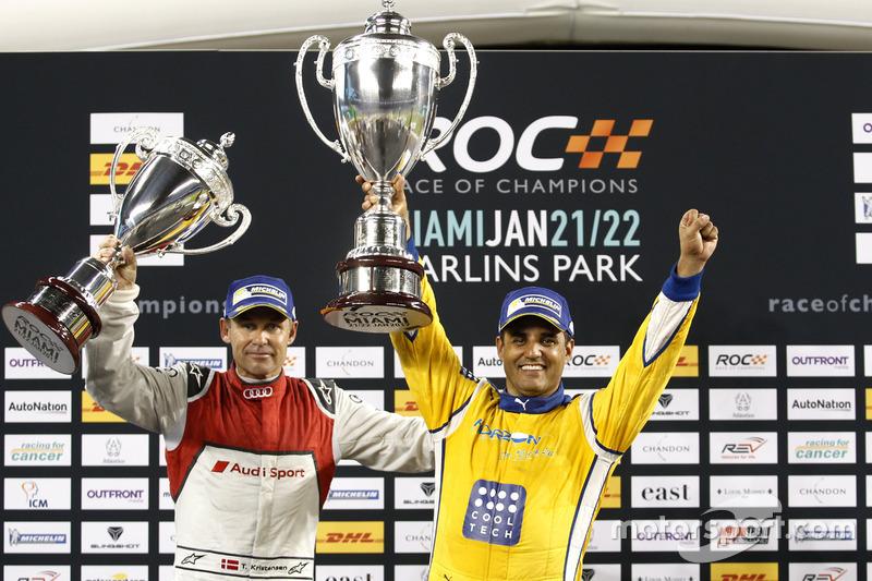 Podio ganador de la carrera Juan Pablo Montoya, segundo lugar Tom Kristensen