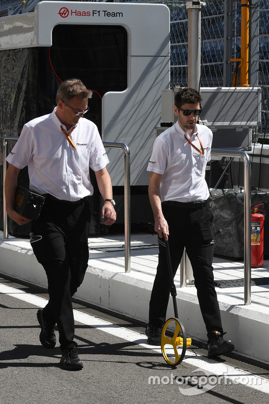 McLaren engineers measuring the track