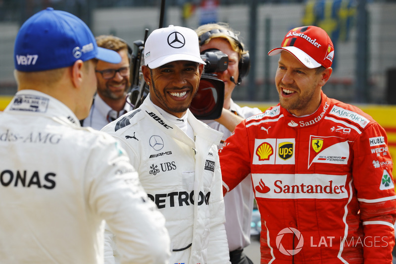 Top 3 after qualifying: Polesitter Lewis Hamilton, Mercedes AMG F, second place Sebastian Vettel, Ferrari third place Valtteri Bottas, Mercedes AMG F1