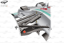 Mercedes W05 front brake duct fin (arrow)