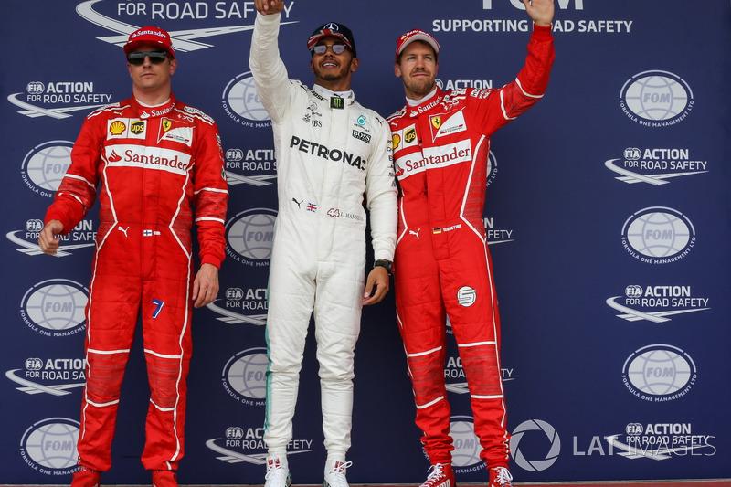 Polesitter Lewis Hamilton, Mercedes AMG F1; 2. Kimi Raikkonen, Ferrari; 3. Sebastian Vettel, Ferrari