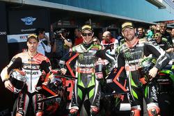 Jonathan Rea, Kawasaki Racing, second placeen pole position devant Tom Sykes, Kawasaki Racing, et Marco Melandri, Ducati Team