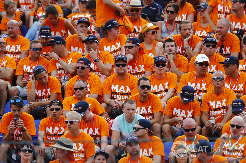 A grandstand full of disappointed Max Verstappen, Red Bull Racing, fans