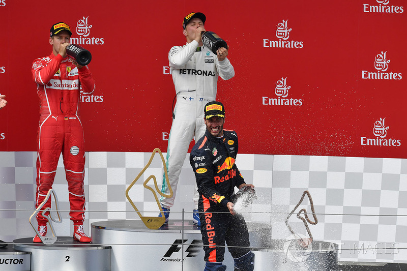 Podium: race winner Valtteri Bottas, Mercedes AMG F1 celebrates on the podium, second place Sebastian Vettel, Ferrari, third place Daniel Ricciardo, Red Bull Racing
