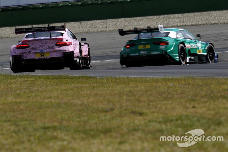 Lucas Auer, Mercedes-AMG Team HWA, Mercedes-AMG C63 DTM, Loic Duval, Audi Sport Team Phoenix, Audi RS 5 DTM