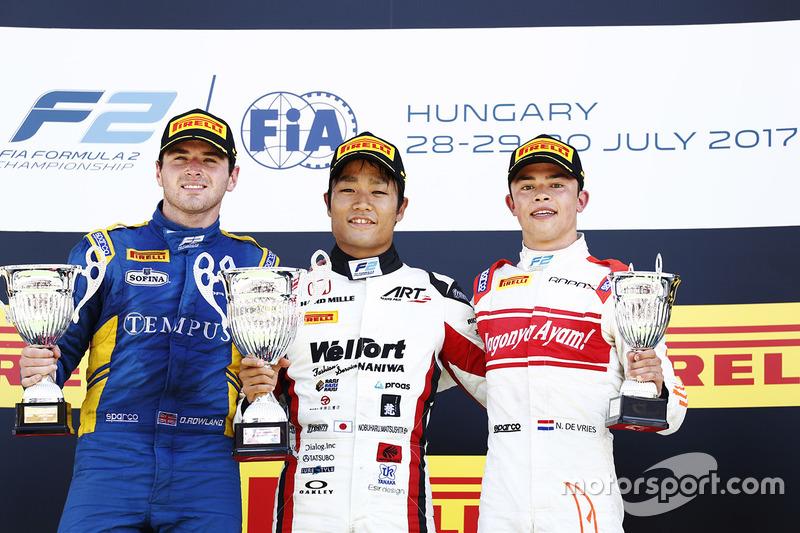 Podium : le vainqueur Nobuharu Matsushita, ART Grand Prix, le deuxième Oliver Rowland, DAMS, le troisième Nyck De Vries, Rapax