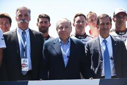 Chase Carey, Formel-1-Chef; Jean Todt, FIA-Präsident; Pierre Fillon, ACO-Präsident