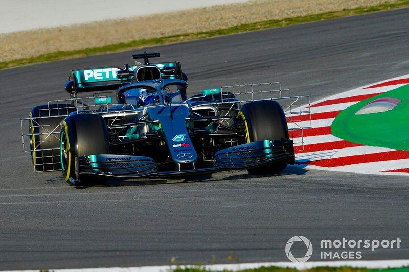 Valtteri Bottas, Mercedes AMG F1 W10, avec des équipements de mesure