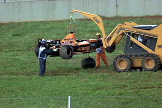 Damaged car of Jos Verstappen, Arrows Asiatech A22