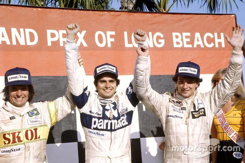 Le vainqueur Nelson Piquet, Brabham BT49-Ford Cosworth; le deuxième Riccardo Patrese, Arrows A3-Ford Cosworth; le troisième Emerson Fittipaldi, Fittipaldi F7-Ford Cosworth