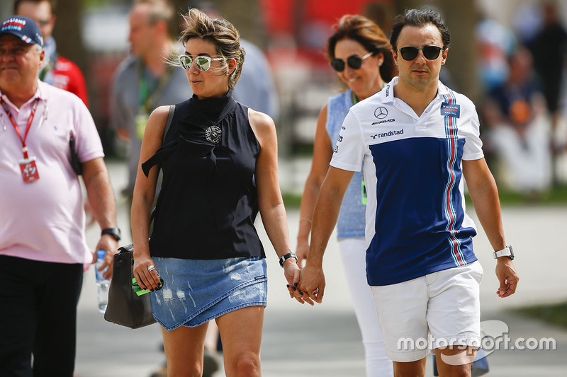 Felipe Massa, Williams, with his wife