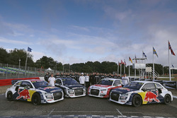 Toomas Heikkinen, EKS, Audi S1 EKS RX Quattro, Reinis Nitiss, EKS, Audi S1 EKS RX Quattro, Nico Müller, EKS, Audi S1 EKS RX Quattro, Mattias Ekström, EKS, Audi S1 EKS RX Quattro with the team