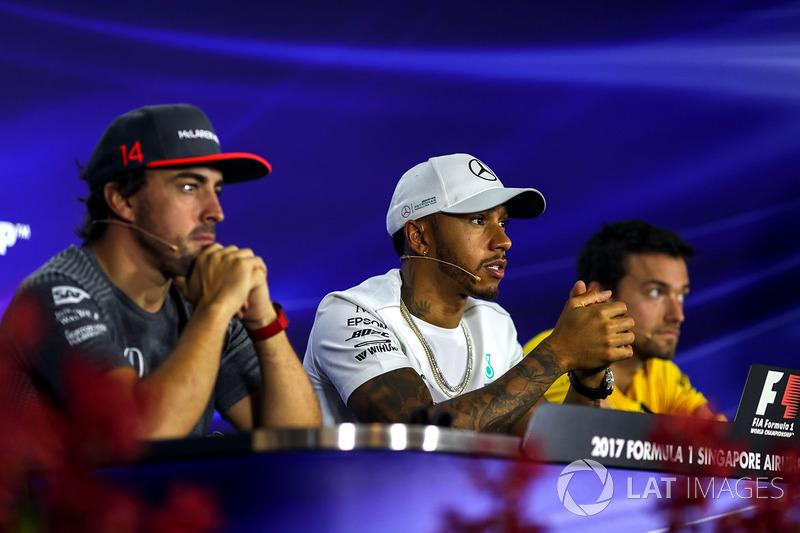 Pressekonferenz: Fernando Alonso, McLaren, Lewis Hamilton, Mercedes AMG F1 und Jolyon Palmer, Renault Sport F1 Team