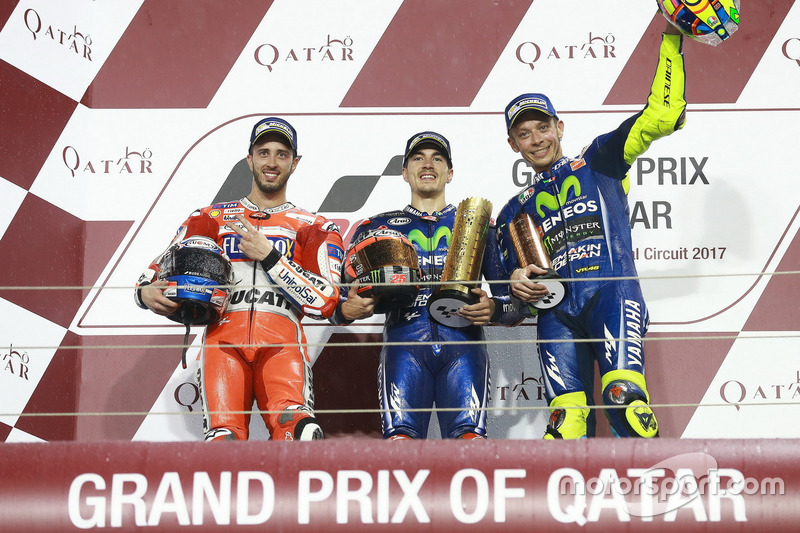 Podium: 2. Andrea Dovizioso, Ducati Team; 1. Maverick Viñales, Yamaha Factory Racing; 3. Valentino R