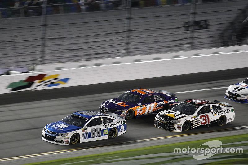 Dale Earnhardt Jr., Hendrick Motorsports, Chevrolet; Denny Hamlin, Joe Gibbs Racing, Toyota; Ryan Newman, Richard Childress Racing, Chevrolet