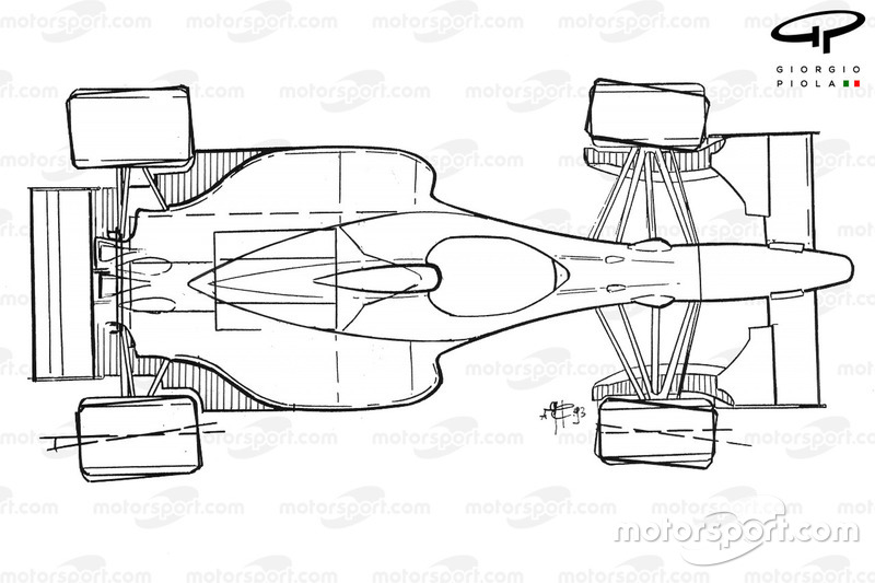 Benetton B193B 1993 four-wheel steering schematic overview