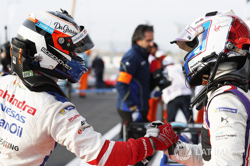 Yarış galibi Felix Rosenqvist, Mahindra Racing, Sam Bird, DS Virgin Racing