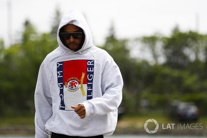 Lewis Hamilton, Mercedes AMG F1, arrives at the circuit