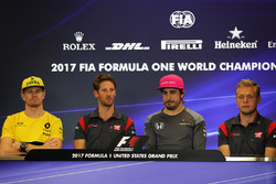 (L to R): Nico Hulkenberg, Renault Sport F1 Team, Romain Grosjean, Haas F1, Fernando Alonso, McLaren and Kevin Magnussen, Haas F1 in the Press Conference