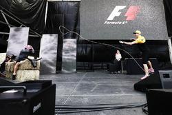 Lewis Hamilton, Mercedes AMG F1, tries the Lasso