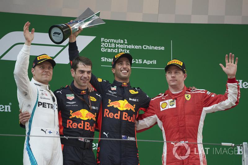 Переможець Даніель Ріккардо, Red Bull Racing, Валттері Боттас, Mercedes AMG F1, Кімі Райкконен, Ferrari