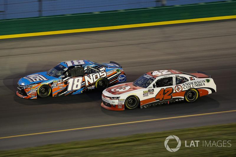 Kyle Busch, Joe Gibbs Racing, Toyota Camry NOS Energy Drink and John Hunter Nemechek, Chip Ganassi Racing, Chevrolet Camaro Anderson Columbia Co., Inc.