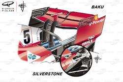 Comparaison de l'aileron arrière de la Ferrari SF71H