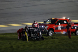 John Hunter Nemechek, NEMCO Motorsports Chevrolet Silverado after the crash