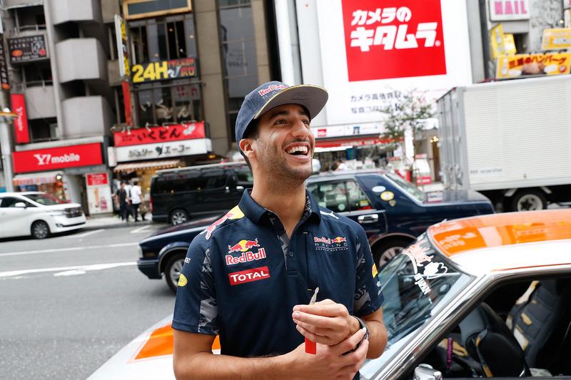 Daniel Ricciardo and  Max Verstappen, Red Bull Racing drive around Tokyo in a Bosozuko Car