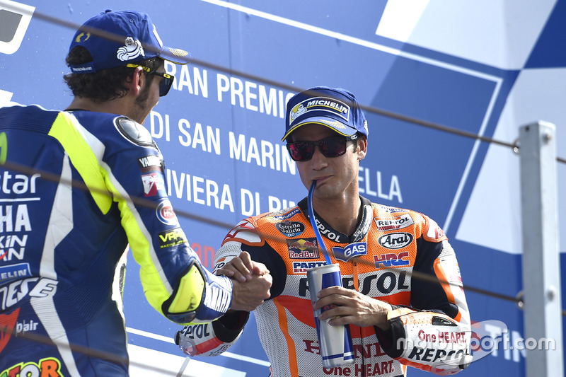 Second place Valentino Rossi, Yamaha Factory Racing, race winner Dani Pedrosa, Repsol Honda Team