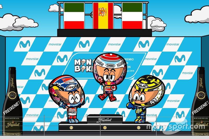 El podio del GP de Aragón de MotoGP 2018, por MiniBikers