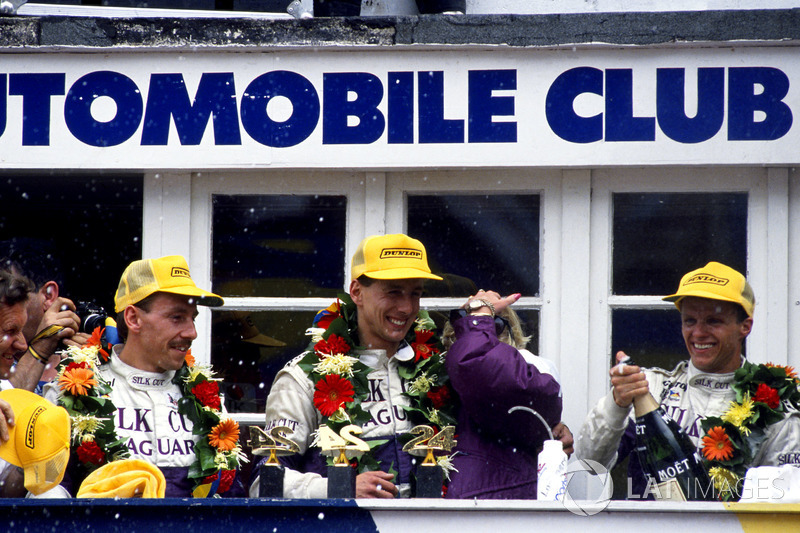 Podium: Jan Lammers, Johnny Dumfries, Andy Wallace, Jaguar XJR-9 LM