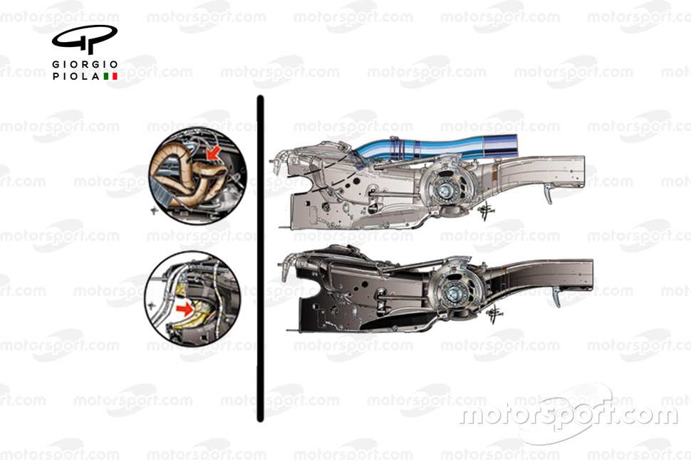 Ferrari SF15-T gearbox and exhausts design
