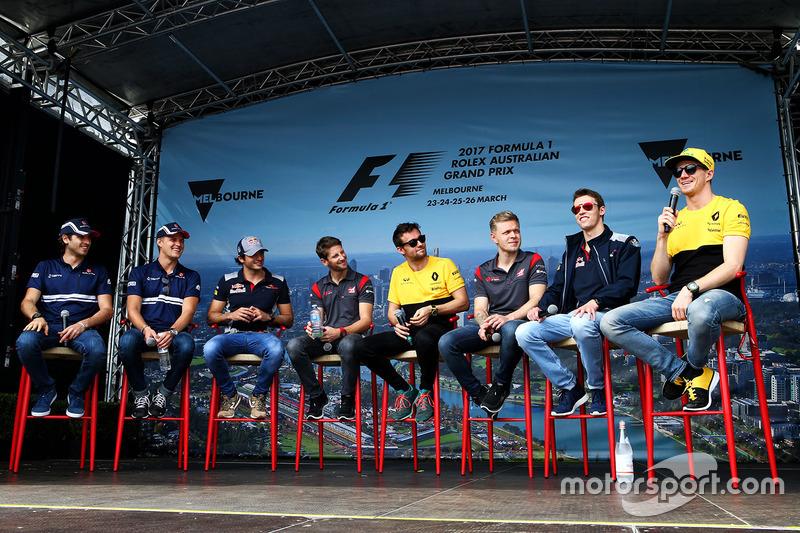 Antonio Giovinazzi, Sauber; Marcus Ericsson, Sauber; Carlos Sainz Jr., Scuderia Toro Rosso; Romain G