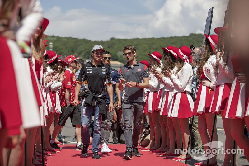 Sergio Perez, Sahara Force India, Romain Grosjean, Haas F1 Team, Pascal Wehrlein, Sauber